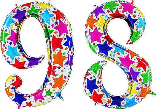 Luftballon Zahl 98 Zahlenballon silber mit bunten Sternen (100 cm)