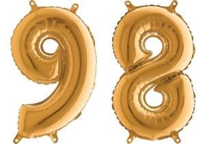 Luftballon Zahl 98 Zahlenballon gold (66 cm)