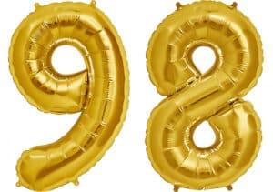 Luftballon Zahl 98 Zahlenballon gold (86 cm)