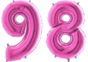 Luftballon Zahl 98 Zahlenballon pink (66 cm)