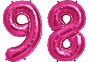 Luftballon Zahl 98 Zahlenballon pink (86 cm)