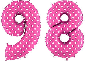 Luftballon Zahl 98 Zahlenballon pink mit weißen Punkten (100 cm)