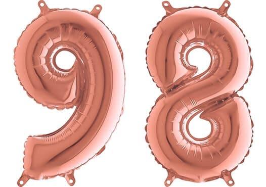 Luftballon Zahl 98 Zahlenballon rosegold (66 cm)