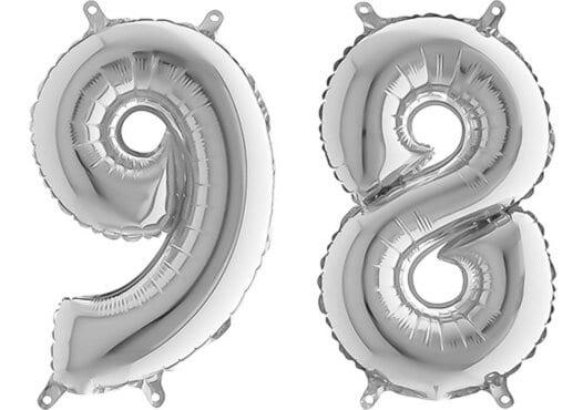 Luftballon Zahl 98 Zahlenballon silber (66 cm)