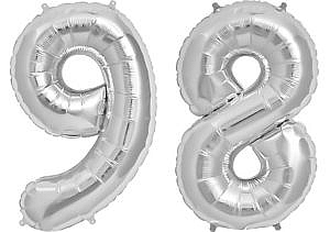 Luftballon Zahl 98 Zahlenballon silber (86 cm)