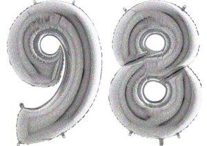 Luftballon Zahl 98 Zahlenballon silber-holographic (100 cm)