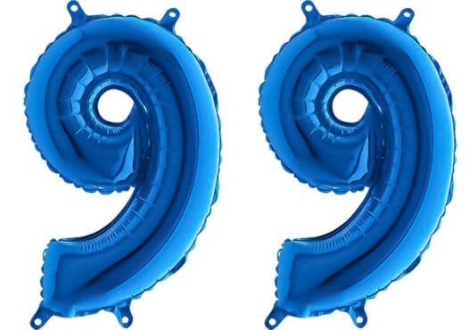 Luftballon Zahl 99 Zahlenballon blau (66 cm)
