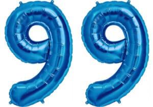 Luftballon Zahl 99 Zahlenballon blau (86 cm)