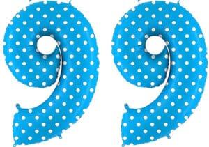 Luftballon Zahl 99 Zahlenballon blau mit weißen Punkten (100 cm)
