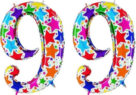 Luftballon Zahl 99 Zahlenballon silber mit bunten Sternen (100 cm)