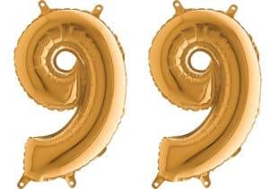 Luftballon Zahl 99 Zahlenballon gold (66 cm)