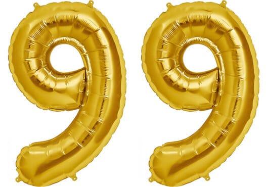 Luftballon Zahl 99 Zahlenballon gold (86 cm)