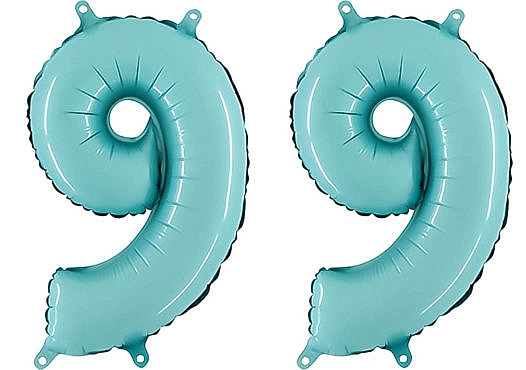 Luftballon Zahl 99 Zahlenballon pastell-blau (100 cm)