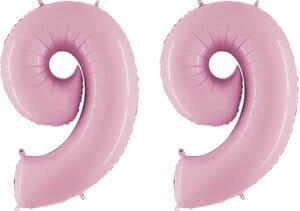Luftballon Zahl 99 Zahlenballon pastell-pink (100 cm)