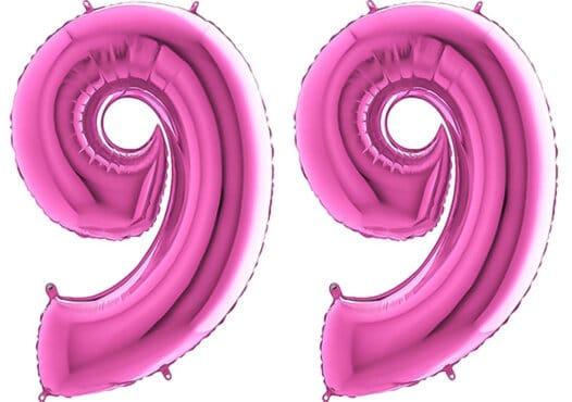 Luftballon Zahl 99 Zahlenballon pink (66 cm)