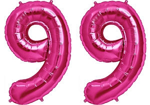 Luftballon Zahl 99 Zahlenballon pink (86 cm)