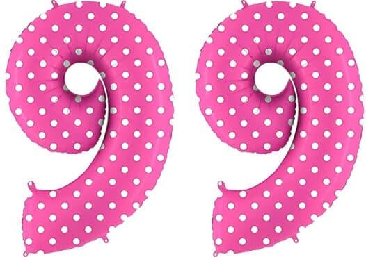 Luftballon Zahl 99 Zahlenballon pink mit weißen Punkten (100 cm)