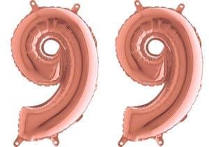 Luftballon Zahl 99 Zahlenballon rosegold (66 cm)