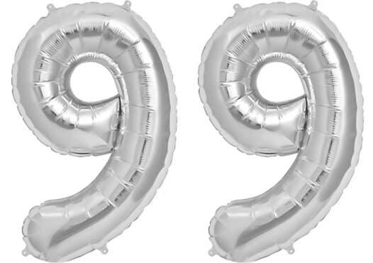 Luftballon Zahl 99 Zahlenballon silber (86 cm)
