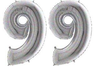 Luftballon Zahl 99 Zahlenballon silber-holographic (100 cm)