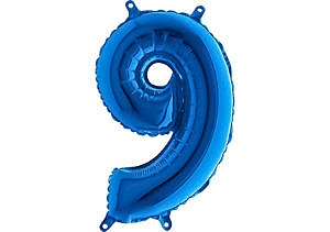 Luftballon Zahl 9 Zahlenballon blau (66 cm)