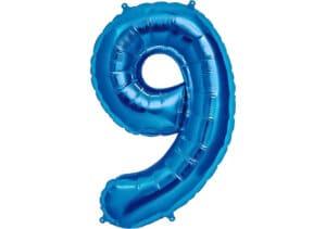 Luftballon Zahl 9 Zahlenballon blau (86 cm)