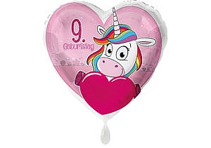 Einhorn-Luftballon mit Herz und Zahl 9 pink (38 cm)