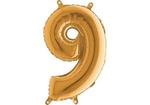 Luftballon Zahl 9 Zahlenballon gold (66 cm)