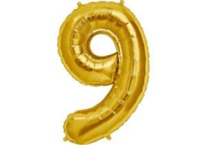 Luftballon Zahl 9 Zahlenballon gold (86 cm)