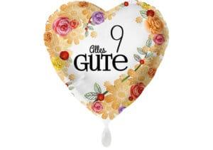 Herzluftballon mit Rosen Alles Gute Zahl 9 weiß (38 cm)