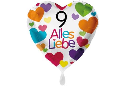 Herzluftballon mit kleinen Herzen Alles Liebe Zahl 9 weiß (38 cm)