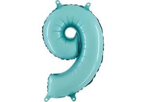 Luftballon Zahl 9 Zahlenballon pastell-blau (100 cm)