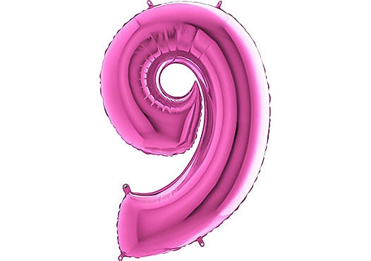 Luftballon Zahl 9 Zahlenballon pink (66 cm)