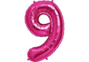 Luftballon Zahl 9 Zahlenballon pink (86 cm)