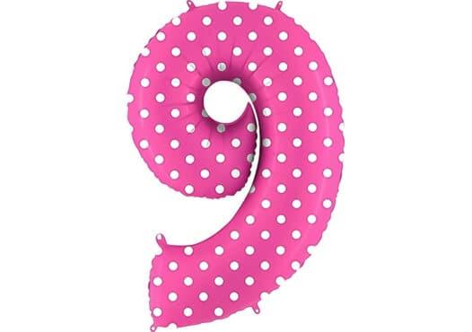 Luftballon Zahl 9 Zahlenballon pink mit weißen Punkten (100 cm)