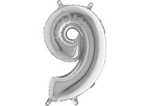 Luftballon Zahl 9 Zahlenballon silber (66 cm)