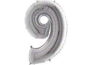 Luftballon Zahl 9 Zahlenballon silber-holographic (100 cm)