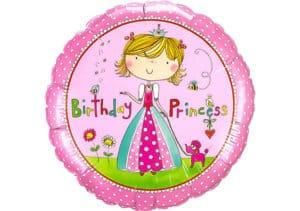 Runder Luftballon mit Prinzessin Birthday Princess in pink (38 cm)