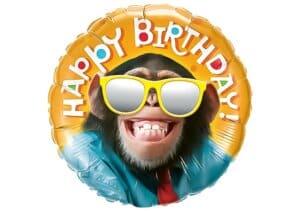 Affe mit Brille Happy Birthday Schimpanse grinsend