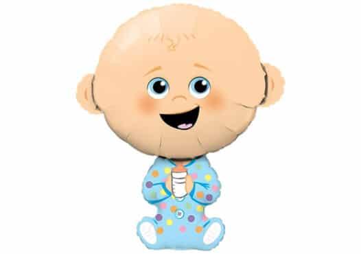 Neugeborener Junge Luftballon zur Geburt mit Nuckelflasche