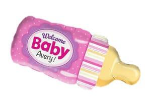 Nuckelflasche Welcome Baby rosa Mädchen Luftballon