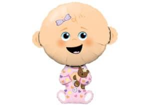 Neugeborenes Mädchen Luftballon zur Geburt mit Teddy