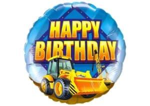 Luftballon mit Bagger Happy Birthday