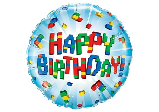 Luftballon bunte Bauklötze Happy Birthday