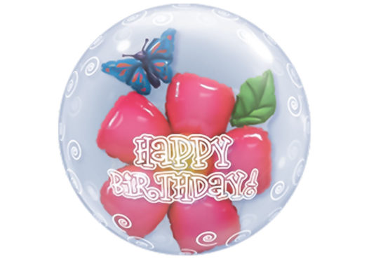 Blume im Ballon Happy Birthday Luftballon Bubble