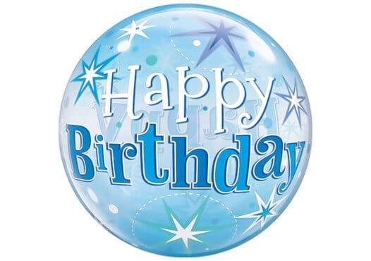 Happy Birthday Luftballon blau mit Sternen
