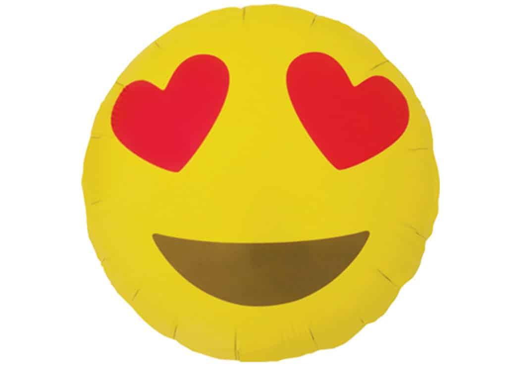 Emoji Smiley Herz Luftballon 38 Cm