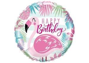 Flamingo Luftballon rund Happy Birthday