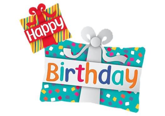 Geburtstagsgeschenk Geschenk mit Schleife Happy Birthday Luftballon