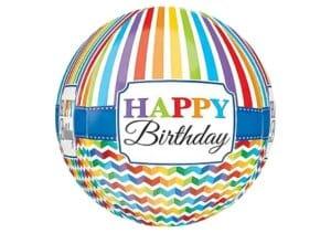 Happy Birthday Regenbogen Luftballon mit Streifen